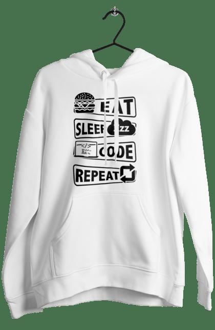 Жіноче худі з принтом Їжа, Сон, Код, Повторити, Програміст Чорний. День програміста, їжа, код, програміст, сон. BlackLine