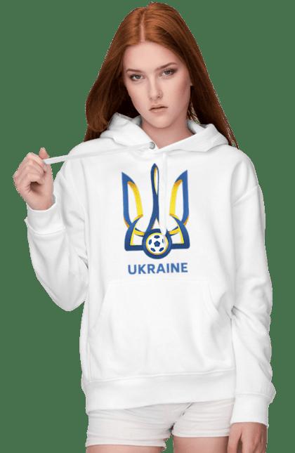 Жіноче худі з принтом Футбол Герб України 2020 BlackLine