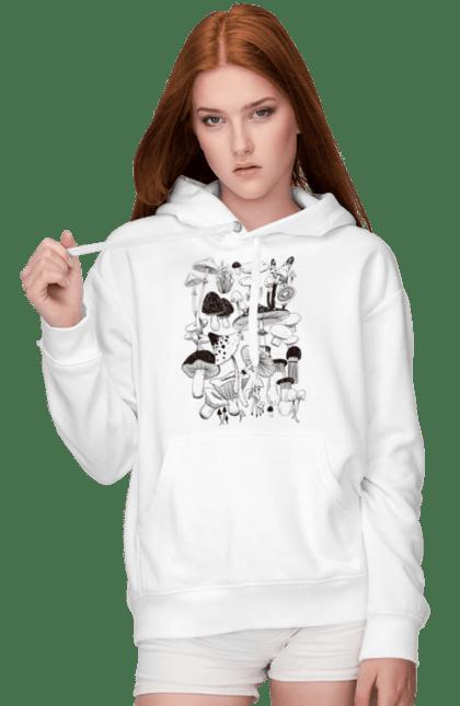 Жіноче худі з принтом Лісні Гриби. Ботаника, ботаніка, гриби, грибы, лес, ліс, мухомори, мухоморы, осень, осінь, растения, рослини. CustomPrint.market