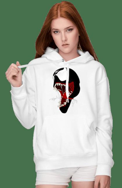 Жіноче худі з принтом Веном з відкритою пащею. Веном, веном2, фільм. CustomPrint.market