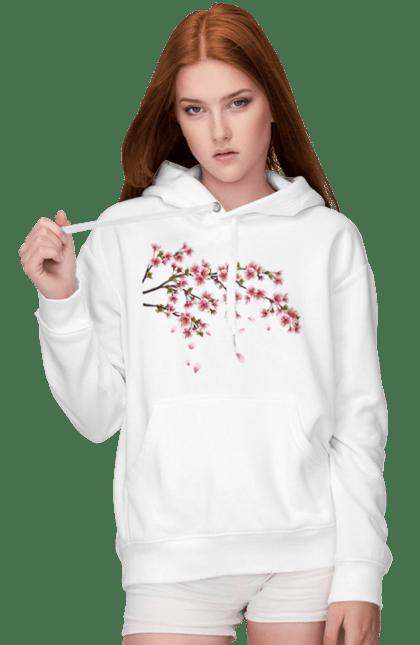Жіноче худі з принтом Гілка З Рожевими Квітами. Гілка, гілка з квітами, квіти. BlackLine