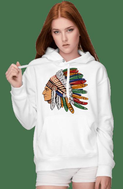Жіноче худі з принтом Індіанець, Вид Збоку