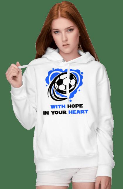 Жіноче худі з принтом Футбол в серці синій. Футбол. BlackLine