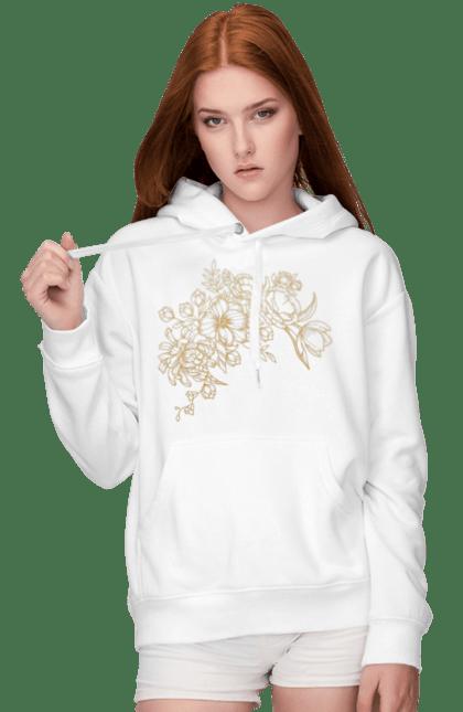 Жіноче худі з принтом Золотистые Цветы. Візерунок, квіти, квітка. BlackLine