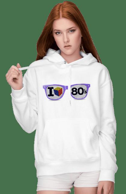 Жіноче худі з принтом Окуляри Я Люблю 80Е. 80, 80ті, окуляри, ретро. BlackLine