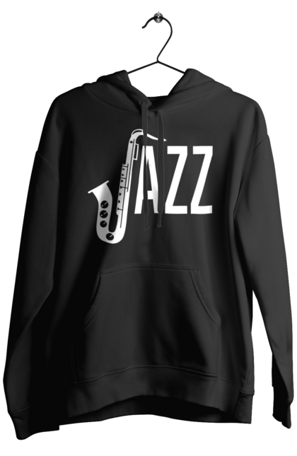 Чоловіче худі з принтом Джаз, Білий. Джаз, музика. BlackLine