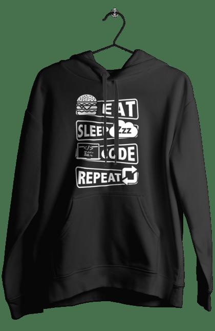 Чоловіче худі з принтом Їжа, Сон, Код, Повторити, Програміст Білий. День програміста, їжа, код, програміст, сон. BlackLine