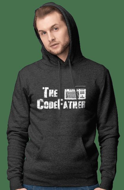 Чоловіче худі з принтом Батько Коду, Клавіатура, Білий. День програміста, клавіатура, код, програміст. BlackLine