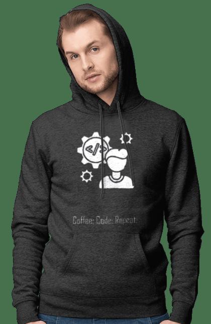 Чоловіче худі з принтом Кава, Код, Повторити, Програміст. День програміста, кава, код, програміст. BlackLine