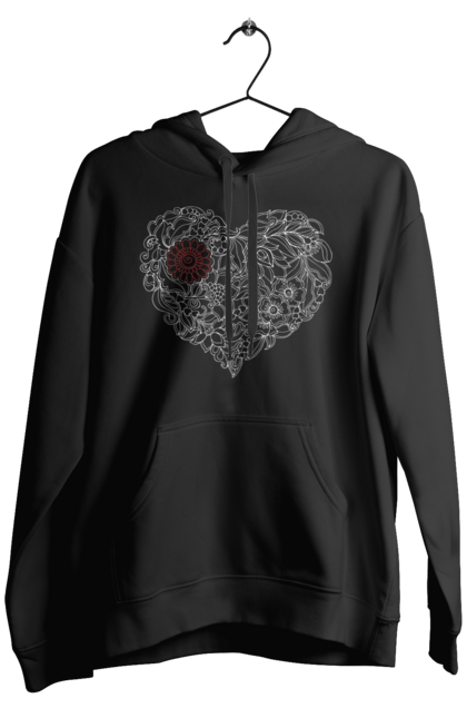 Чоловіче худі з принтом Серце Візерункове З Квітів. Візерунок, квітка, серце. BlackLine