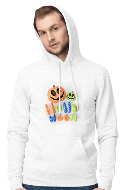 Чоловіче худі з принтом Тыквы разноцветные 3D. 3D, разноцветный, тыква, фонарь джека, хеллоуин. CustomPrint.market