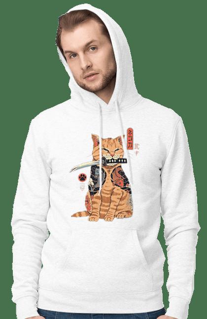 Чоловіче худі з принтом Кот Самурай. Кіт, ніж, самурай, тварина. CustomPrint.market