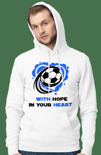 Чоловіче худі з принтом Футбол в серці синій. Футбол. BlackLine