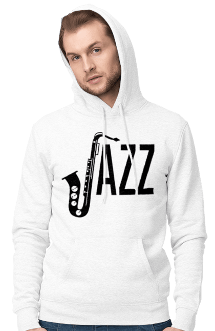 Чоловіче худі з принтом Джаз, Чорний. Джаз, музика. BlackLine