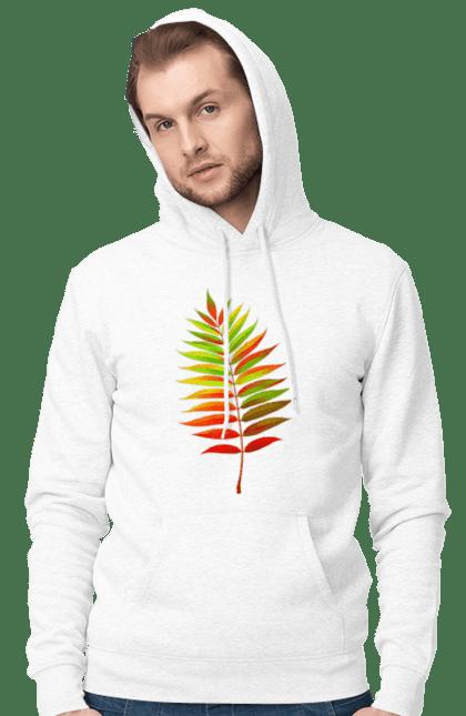 Чоловіче худі з принтом Осінній Листок. Жовтий листок, листок, осінь. BlackLine