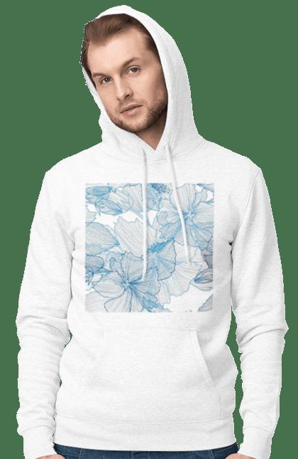Чоловіче худі з принтом Блакитні Візерункові Квіти. Візерунок, квітка. BlackLine
