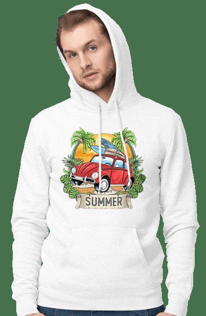 Чоловіче худі з принтом Літо, Машина І Пальми