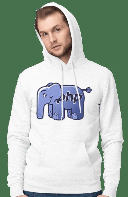 Чоловіче худі з принтом Мова Програмування, Слон. День програміста, мова програмування, програма, програміст, слон. BlackLine