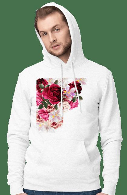 Чоловіче худі з принтом Збірник Квітів. Квіти, квітка, півонія, фіалка. CustomPrint.market
