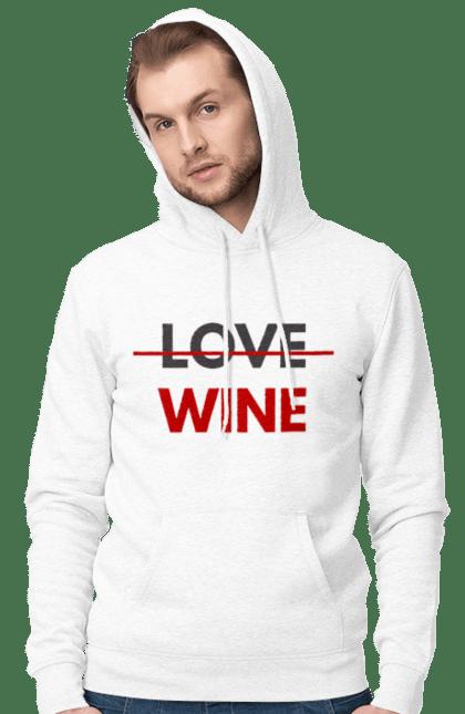 Чоловіче худі з принтом Немає Любові Тільки Вино. Алкоголь, вино, любов, цитата, червоний. CustomPrint.market