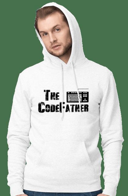 Чоловіче худі з принтом Батько Коду, Клавіатура, Чорний. День програміста, клавіатура, код, програміст. BlackLine