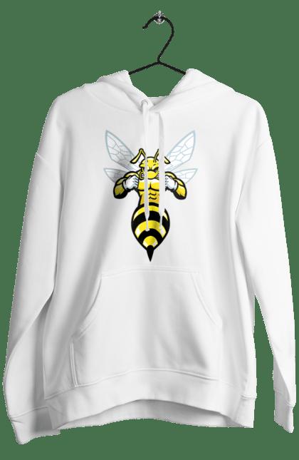 Чоловіче худі з принтом Бджола Качок. Бджола, качок, комаха. BlackLine