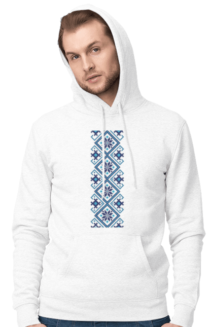 Чоловіче худі з принтом Вишиванка М1. Вишиванка, символіка, україна. BlackLine