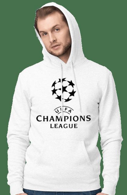 Чоловіче худі з принтом Ліга чемпіонів. Ліга чемпіонів, футбол. BlackLine
