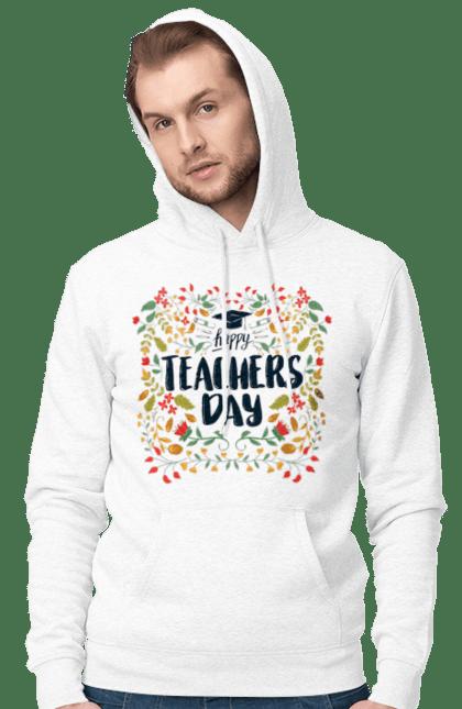 Чоловіче худі з принтом Щасливий День Учителя, Квіти. День учителя, знання, навчання, учитель. BlackLine