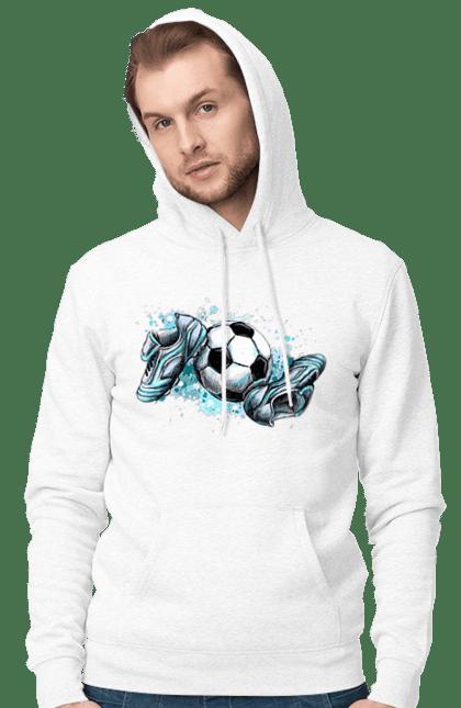 Чоловіче худі з принтом Футбольний М'яч І Сороконожки. М'яч, сорокножкі, спорт, футбол. BlackLine