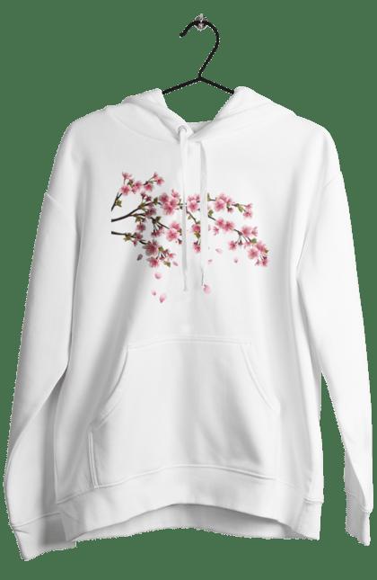 Чоловіче худі з принтом Гілка З Рожевими Квітами. Гілка, гілка з квітами, квіти. BlackLine