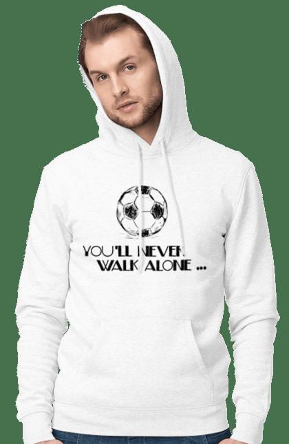 Чоловіче худі з принтом Never Walk alone. Футбол. BlackLine