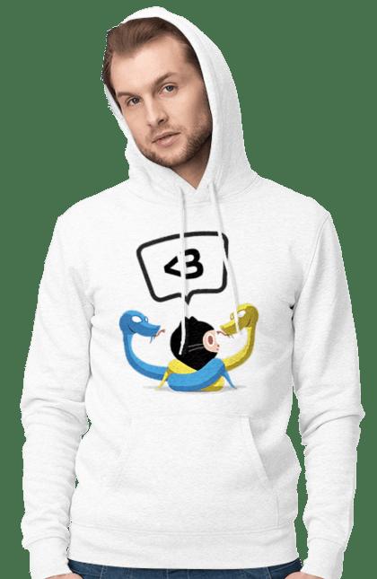 Чоловіче худі з принтом Язик Третього Покоління, Програміст. День програміста, змія, покоління, програміст, язик. BlackLine