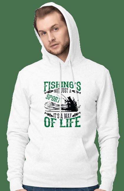 Чоловіче худі з принтом День Рибалки Риболовля Це Не Просто Спорт Це Спосіб Жіття CustomPrint.market