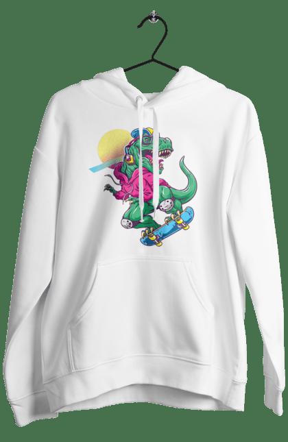 Чоловіче худі з принтом Динозавр В Навушниках І На Скейті CustomPrint.market