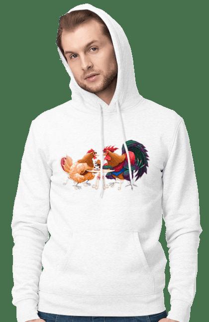 Чоловіче худі з принтом Півень І Курочка На Побаченні CustomPrint.market