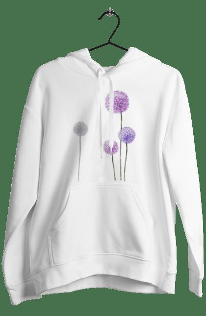 Чоловіче худі з принтом Фіолетові Кульбаби. Квітка, кульбаба, кульбаби. BlackLine