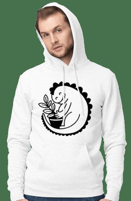 Чоловіче худі з принтом Чорний Дракоша З Квіткою CustomPrint.market