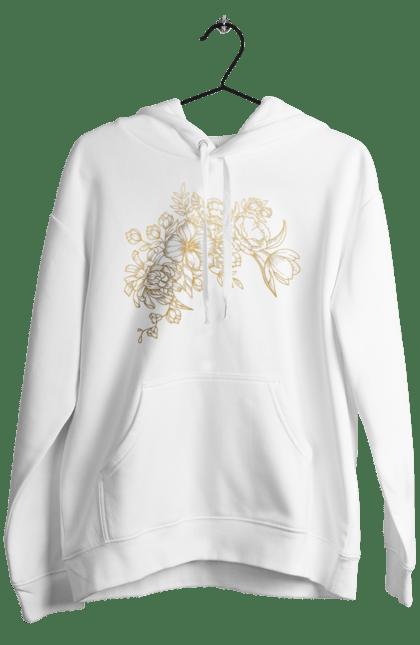 Чоловіче худі з принтом Золотистые Цветы. Візерунок, квіти, квітка. BlackLine