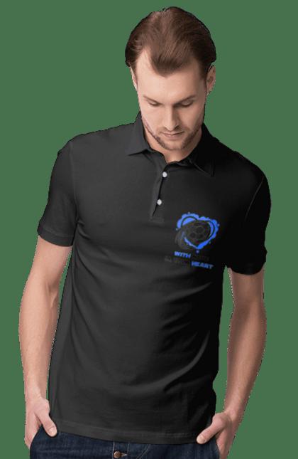 Поло чоловіче з принтом Футбол в серці синій. Футбол. BlackLine
