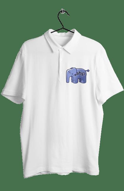 Поло чоловіче з принтом Мова Програмування, Слон. День програміста, мова програмування, програма, програміст, слон. BlackLine