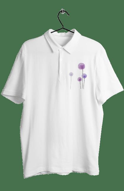 Поло чоловіче з принтом Фіолетові Кульбаби. Квітка, кульбаба, кульбаби. BlackLine