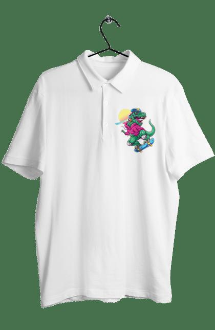 Поло чоловіче з принтом Динозавр В Навушниках І На Скейті CustomPrint.market
