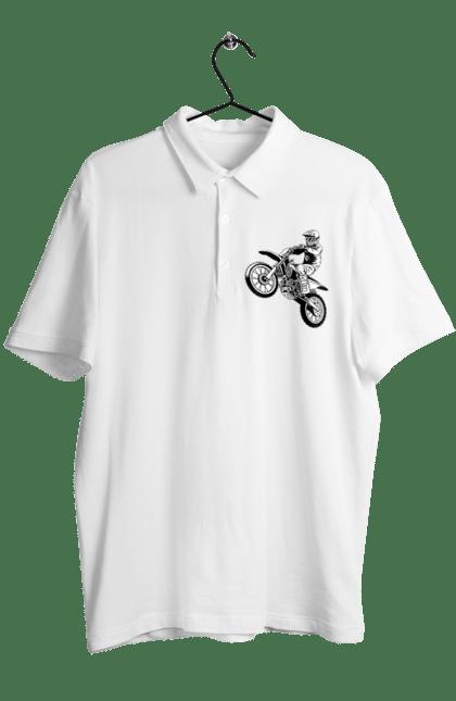 Поло чоловіче з принтом Питбайк. Мотоцикл, мотоцикліст, питбайк. CustomPrint.market