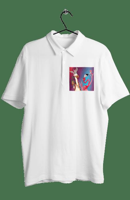 Поло чоловіче з принтом Жираф І Фламінго На Вечірці. Жираф, їжа, коктейль, фламінго. CustomPrint.market