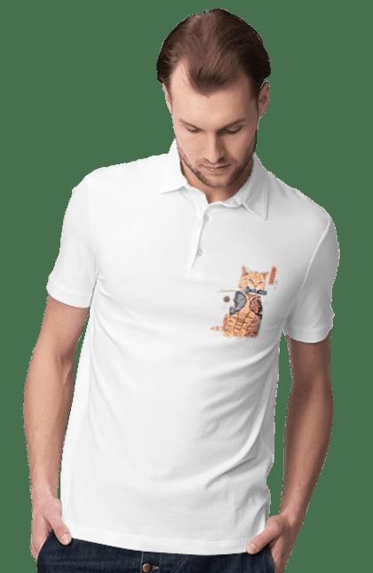 Поло чоловіче з принтом Кот Самурай. Кіт, ніж, самурай, тварина. CustomPrint.market