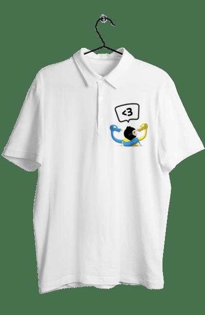 Поло чоловіче з принтом Язик Третього Покоління, Програміст. День програміста, змія, покоління, програміст, язик. BlackLine