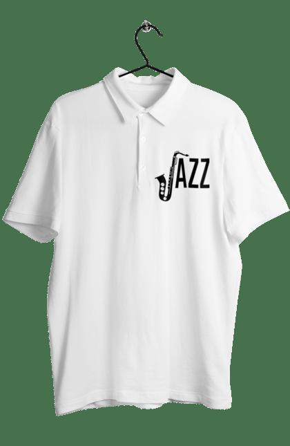 Поло чоловіче з принтом Джаз, Чорний. Джаз, музика. BlackLine