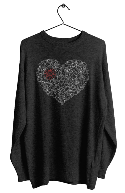 Світшот жіночий з принтом Серце Візерункове З Квітів. Візерунок, квітка, серце. BlackLine