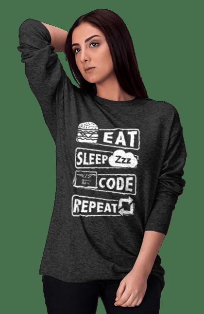 Світшот жіночий з принтом Їжа, Сон, Код, Повторити, Програміст Білий. День програміста, їжа, код, програміст, сон. BlackLine